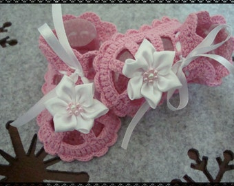 Hand Crocheted Baby Booties-Sandals in Pink