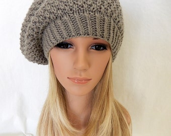 Knit Hat Slouchy Beret Beanie Handmade.. Taupe (Ready to Ship)