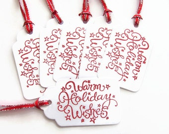 Warm Holiday Wishes Gift Tags, Holiday Gift Tags,Christmas Gift Tags, Christmas Tags, Christmas Favor Tags, Christmas Hang Tags, Christmas