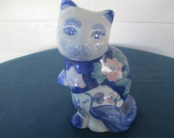 Large Porcelain Floral Cat Figurine Blue Pink And White Vintage Home Decor Collectible