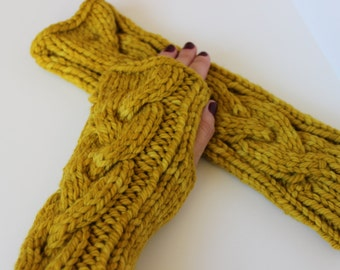 Knitted fingerless gloves - yellow, mustard hand warmers, texting gloves, fingerless mitts, 100% merino wool