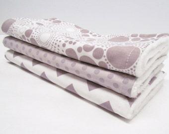 Gender Neutral Burp Cloth Set, Grey polka dot and Chevron, White Minky Burp Cloth Set