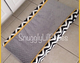 Black chevron, yellow, grey minky dot changing pad cover
