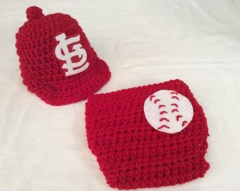 FREE SHIPPING - Baby Crochet Baseball Cap, and Diaper Cover - St. Louis Cardinals