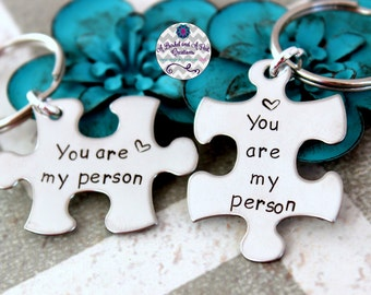 Hand Stamped You are my person key chains (set of 2)