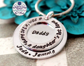 Personalized hand stamped Dad/Daddy a son's first hero, a daughter's first love key chain