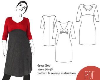 sewing pattern dress Boo, woman dress pattern, sewing pattern, PDF pattern, instant download