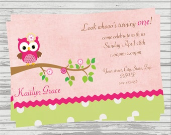 Owl First Birthday DIGITAL Birthday Invitation.