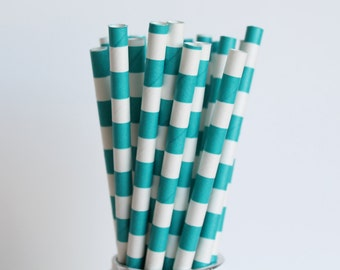 Teal Rugby Horizontal Striped Paper Straws-Teal Straws-Striped Straws-Wedding Straws-Party Straws-Mason Jar Straws-Cake Pop Sticks