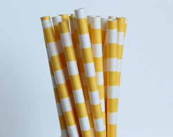 Yellow Rugby Horizontal Striped Paper Straws-Yellow Straws-Striped Straws-Wedding Straws-Party Straws-Mason Jar Straws-Cake Pop Sticks
