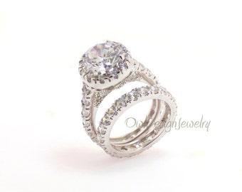 Rhodium Plated Sterling Silver CZ Bridal Ring Set