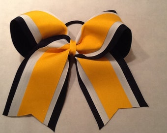 Black White Yellow Gold Grosgrain Cheer Bow Softball Bows Volleyball Bows Soccer Bows