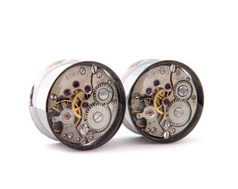 Clockwork Steampunk Vintage Watch Movement Ear Plugs / Tunnels  - Gears In Your Ears. 18mm /  11/16 inch gauge.