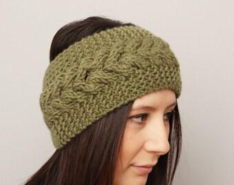 Knitted headband , woman headband  ,ear warmer, green