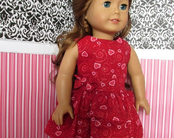 18 inch Doll Clothes - Valentines Print Party Dress