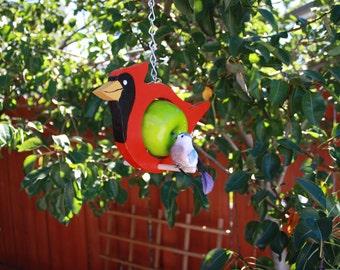 Cardinal  fruit or suet bird feeder