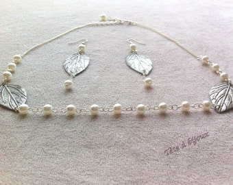 Headband silver wedding with leaves, pearly white pearl earrings