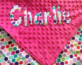 "Personalized Polka Dot Baby Girl Blanket with your child's name. 30"" x36"""