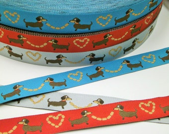 "1 m Woven Ribbon Würschtl-Wastl"" red turquoise grey 15 mm Design mymaki dachshund"
