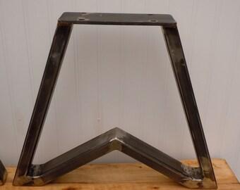 "Bench Legs Set of Two (2) Steel Bench Legs Trapezoid in Raw Steel 14.75"""