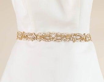 Wedding Sash Gold And Opal Bridal Rhinestone Encrusted Belt