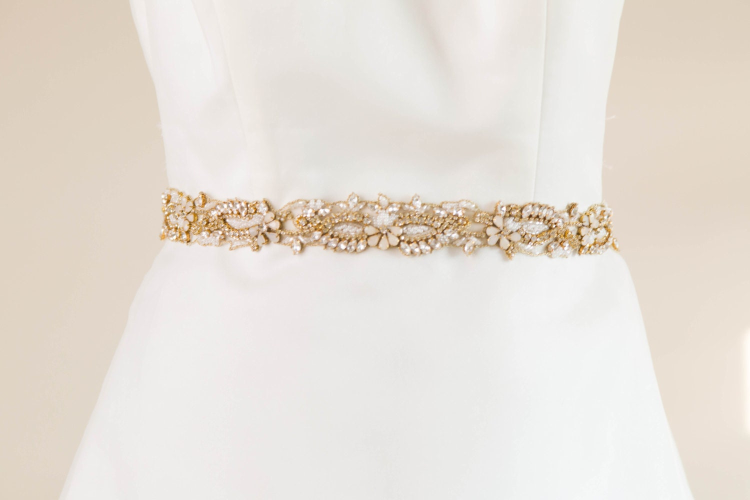 Wedding sash gold and opal bridal sash rhinestone encrusted for Rhinestone sash for wedding dress
