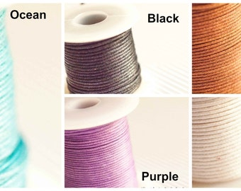 0.5mm Waxed Cotton Black / Chocolate / Ocean /  Purple / White 3 Metres