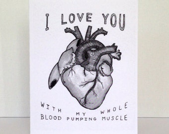 Anatomical Heart Card // Funny Greeting Card // I Love You Card // Blank Card