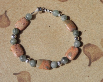 "Safari jasper and green line jasper bracelet - 7  1/8"""