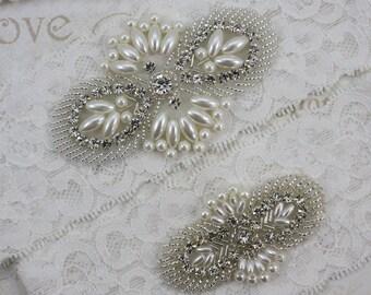 MAGGIE - Wedding Rhinestone Garter Set, Wedding Stretch Lace Garter, Pearl Crystal Bridal Garters