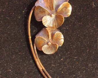 Gorgeous Sterling Pansy Pin by Stuart NYE