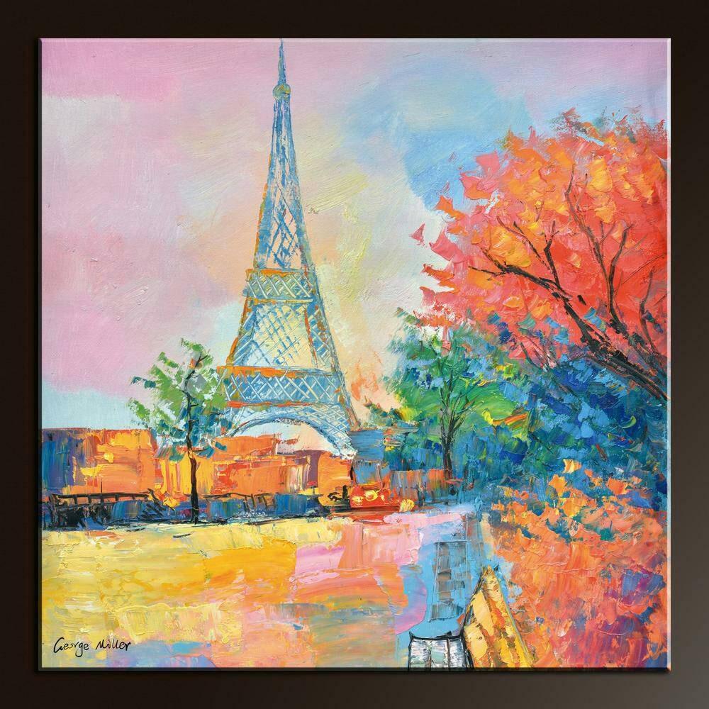 Paris Painting Eiffel Tower Landscape Oil Painting Original  Eiffel Tower Painting Landscape
