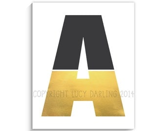 Gold Monogrammed Letter Print - 8x10