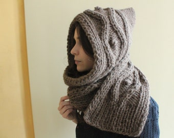 Hooded Scarf. Long Scarf. Wool Scarf. Chunky Scarf. Scoodie Scarf. Wool Brown Scarf. Brown hooded scarf, light brown knit scoodie scarf