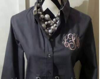 Monogrammed Ladies Long sleeve Button up shirts, Monogrammed Bridal Party Shirts