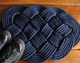 Navy Bath Mat - Rope Rug - Navy Cotton Rope Rug - Nautical Decor - (29 x 18)