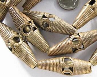 Beautiful Tabular handmade brass trade beads