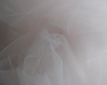 Superfine Italian tulle   - 3m wide- 118 inches wide -  blush pink - sold by the yard
