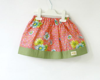 Coral and Green baby skirt, toddler skirt in spring floral play skirt, spring/ summer kids fashion skirt