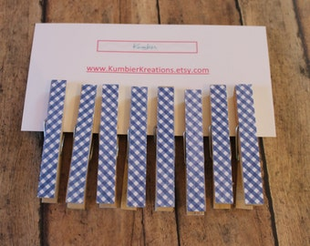 wooden clothespins, set of 8 - Blue Gingham  print on wooden pegs