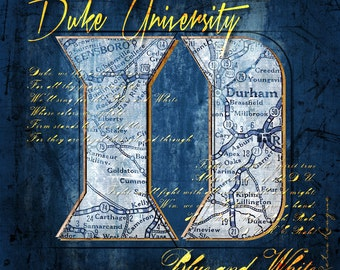 Duke Blue Devils Map- Duke University Fight Song - Perfect Alumni, Birthday, Anniversary Gift for Duke Fan - Unframed Print