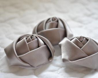 """Satin rolled rosette flower, 1.5"""" mini  GRAY/SILVER satin rosette  rolled flower, rolled rosette, satin flower"""