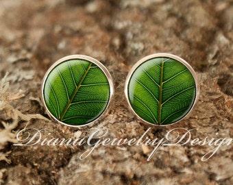 Green leaf earrings, Green leaf, studs, earring posts, leaf earrings, green, nature earrings