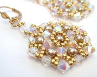 Crystal AB 2X swarovski elements mandala crystal earrings, crystal and gold, statement earrings, beadwoven earrings, ER028