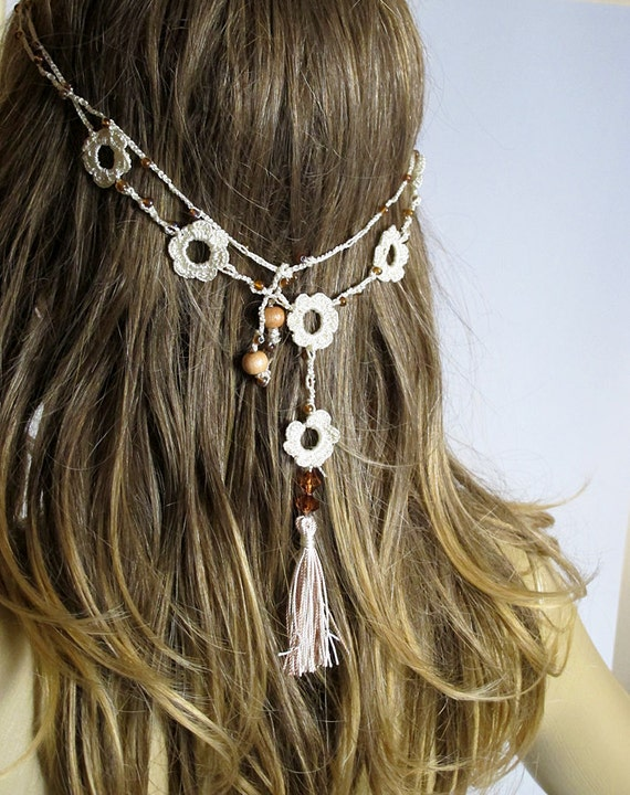 Crochet Hair Jewelry : Crochet Headband and necklace tassel hair accessories Boho bohemian ...