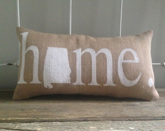 Burlap Pillow - Home (your state) design, State pillow, Home pillow - Custom Made to Order