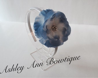 CLEARANCE- Briar White and Blue Flower attached to a White Satin Headband