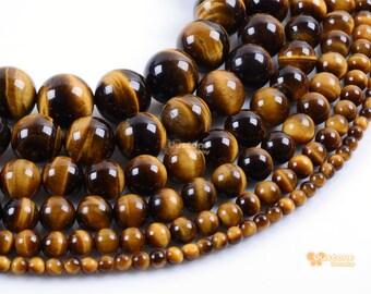 Natural A Grade Golden tiger's eye round beads full strand 4mm 6mm 8mm 10mm 12mm 14mm