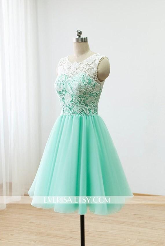 Custom Lace Bridesmaid Dress Prom Dress Mint Green By Everisa