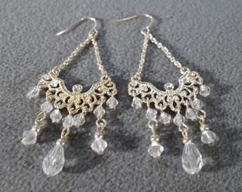 Vintage Silver Tone Chandelier Euro Wire Pierced Earring Multi Round Crystal Beads    K